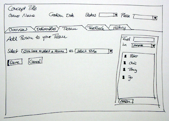 An example of a hand drawn wireframe from SSX